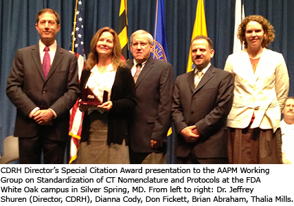 AAPM WGCTNP representative members just after FDA award ceremony